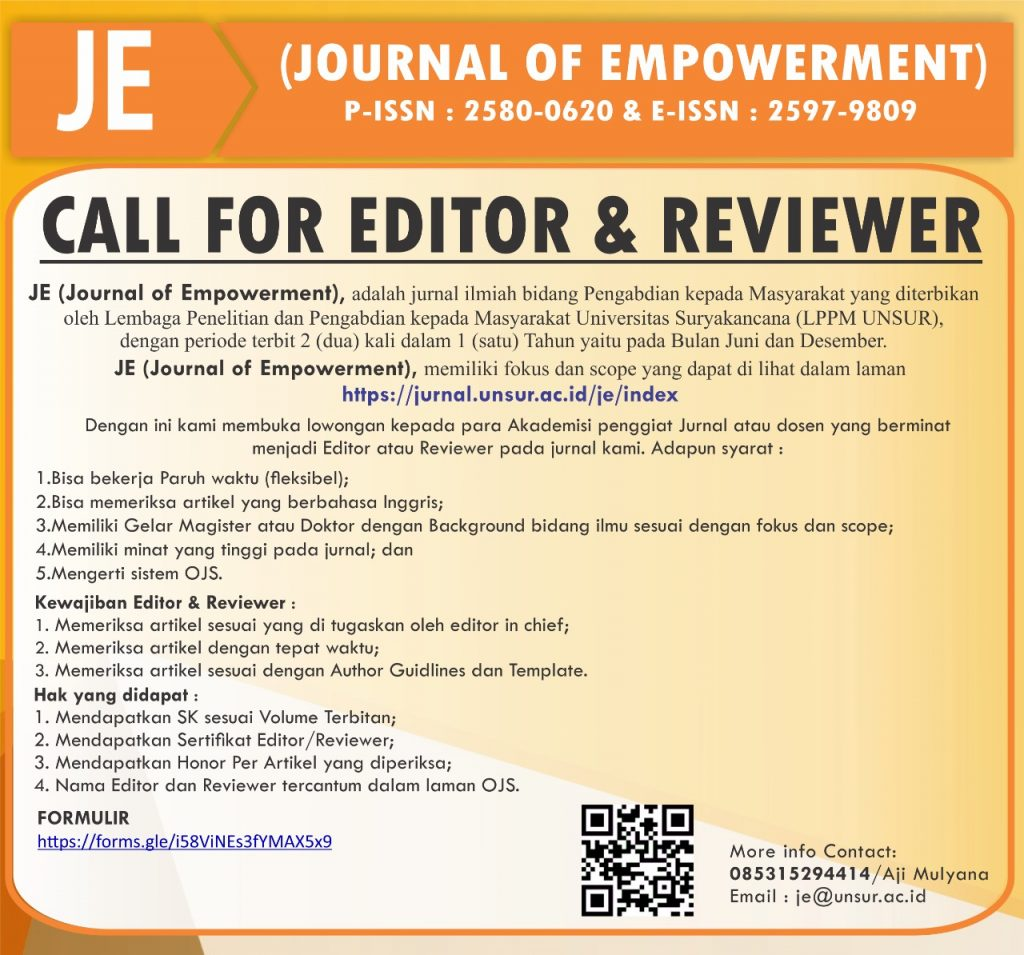 Call for Editor & Reviewer JE (Journal of Empowerment)