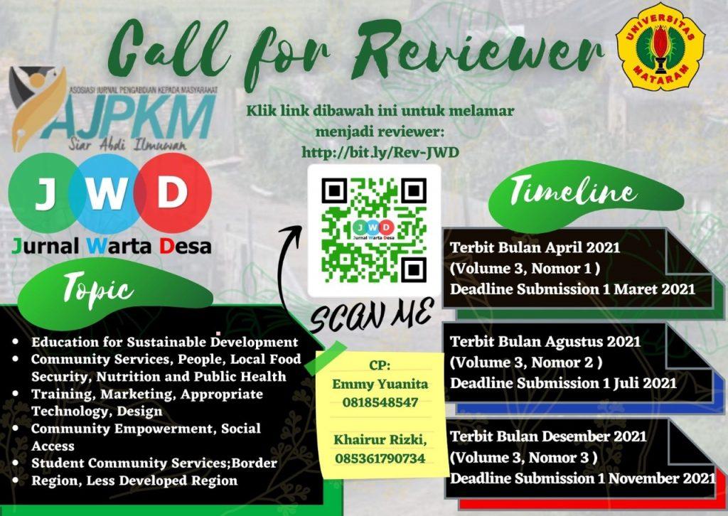 Call for Reviewer Jurnal Warta Desa