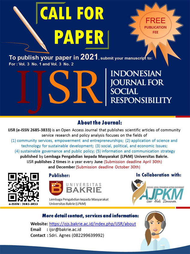 Callpaper Indonesian Journal for Social Responsibility